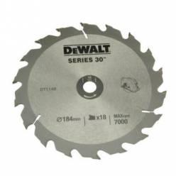 Диск пильний DeWALT, 190х30мм, 18 зубов, угол заточки +20 градусов, геометрия зуба WZ/ATB, быстрая резка.