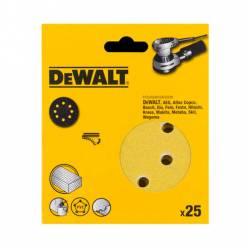 Самоклеющаяся шлифовальная шкурка DeWALT, d=125мм, зерно 120,  для эксцентриковых шлифовальных машин, 25 штук.
