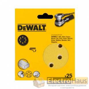 Самоклеющаяся шлифовальная шкурка DeWALT, d=125мм, зерно 40,  для эксцентриковых шлифовальных машин, 25 штук.